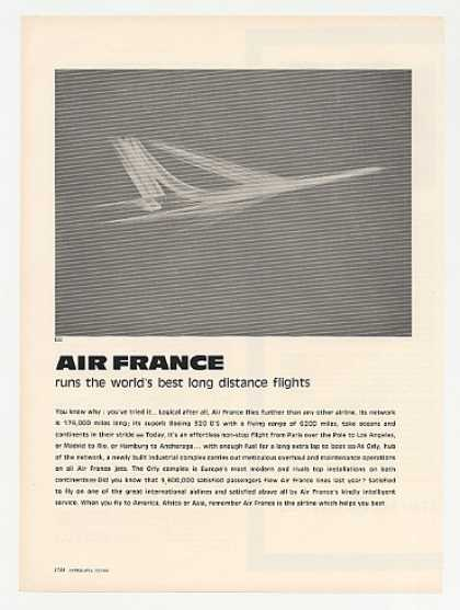 Air France Airlines Jet Aircraft art (1964)