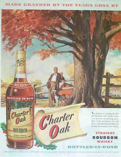 Charter Oak Straight Bourbon Whiskey Christmas (1949)
