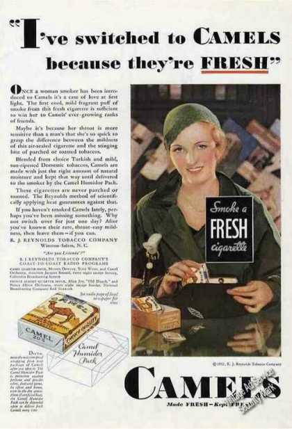 I Switched To Camels Because They're Fresh (1932)