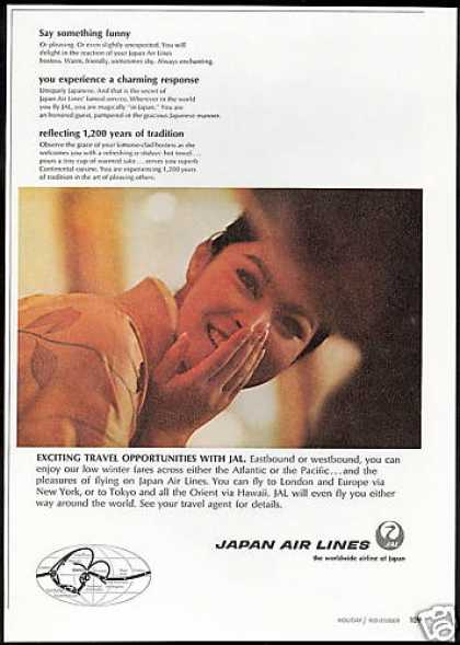 JAL Japan Airlines Kimono Hostess Photo (1967)