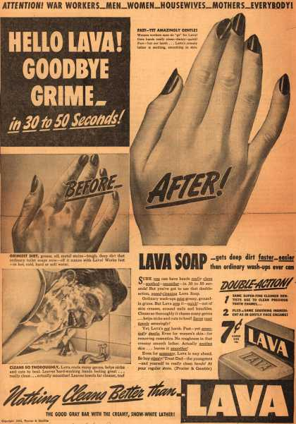 Procter & Gamble Co.'s Lava Soap – Hello Lava! Goodbye Grime – in 30 to 50 Seconds (1943)