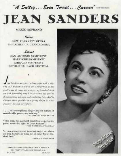 Jean Sanders Photo Mezzo-soprana Opera Trade (1960)