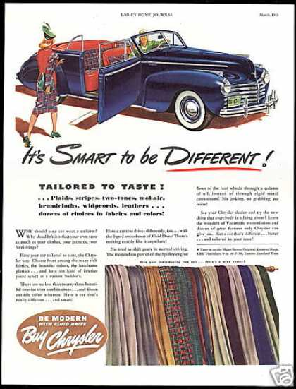 Chrysler Convertible Car Interior Colors Fabric (1941)