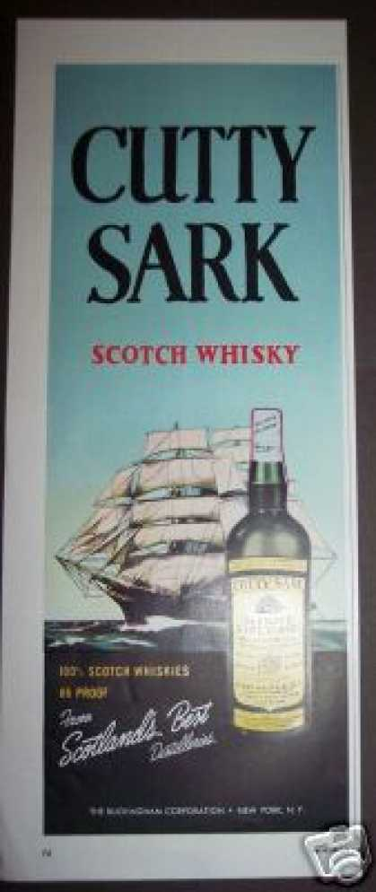 Cutty Sark Scotch Whisky Ship Bar Art (1958)