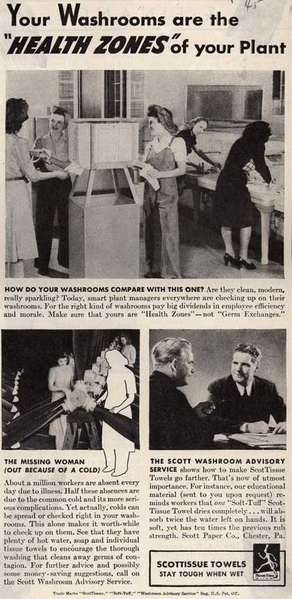 "Scott Paper Company's ""Soft-Tuff"" ScotTissue Towels – Your Washrooms are the ""Health Zones"" of your Plant (1945)"