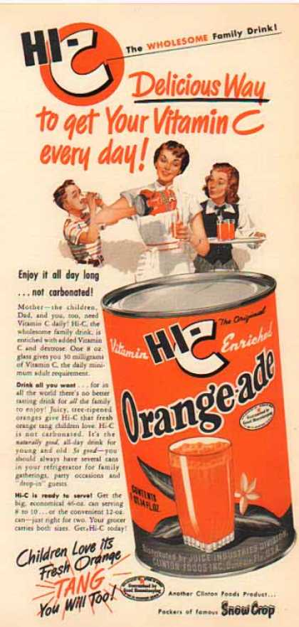 HI-C OrangeAde Drink – Fresh Orange Tang (1950)