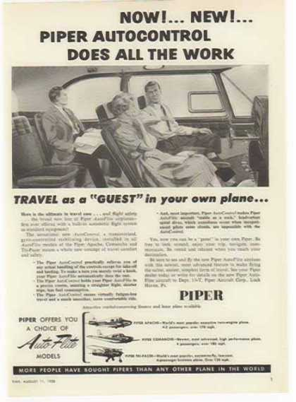 Piper Plane – Apache, Comanche, and Tri-Pacer Models (1958)
