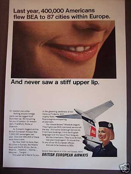 Bea Airways No Stiff Upper Lip Stewardess (1967)