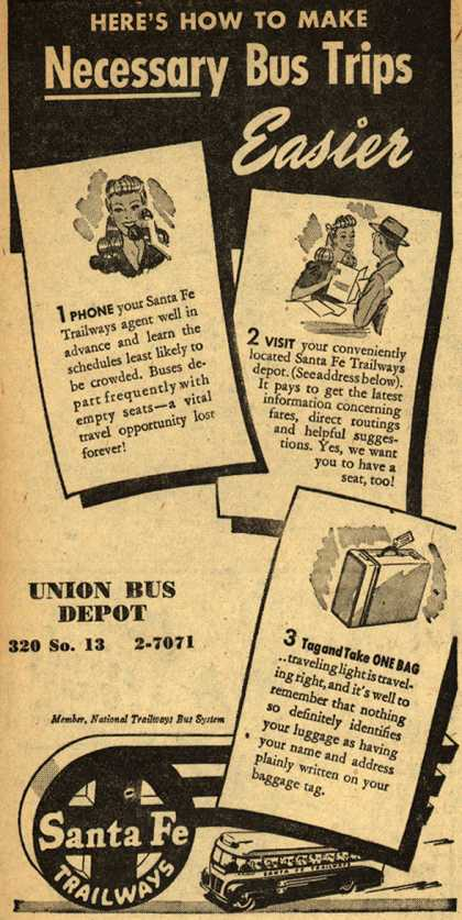 Santa Fe Trailways – Here's How To Make Necessary Bus Trips Easier (1945)