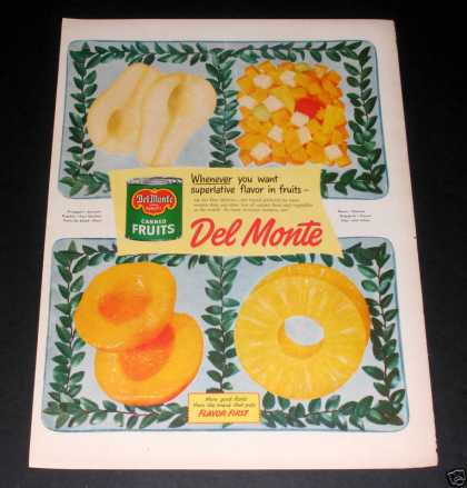 """Del Monte Canned Fruit"" Ad, Ex (1949)"