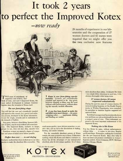 Kotex Company's Sanitary Napkins – It took 2 years to perfect the Improved Kotex (1928)