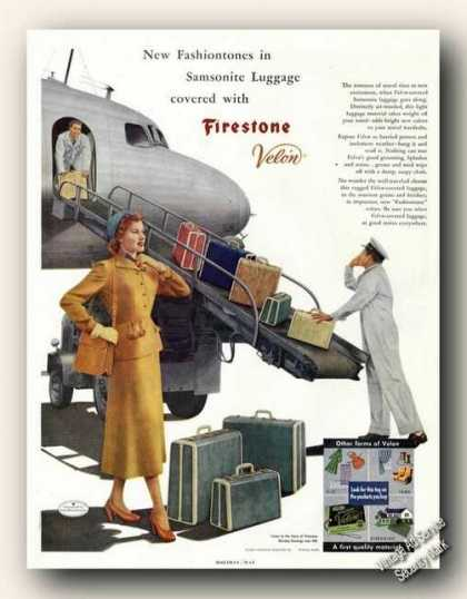 Samsonite Luggage In Fashiontones Firestone (1949)