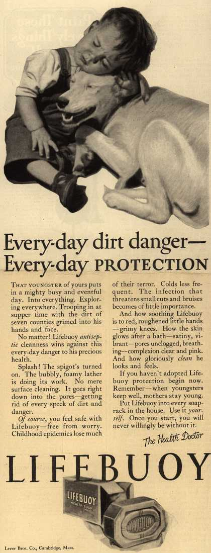 Lever Brothers Company's Lifebuoy Health Soap – Every-day dirt danger – Every-day Protection (1926)