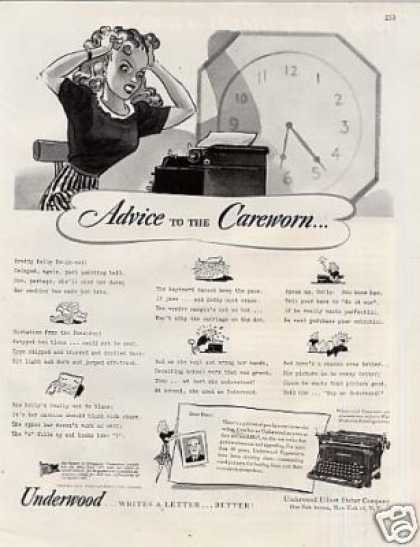 "Underwood Typewriter Ad ""Advice To the Careworn... (1944)"