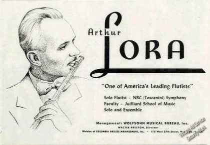 Arthur Lora Drawing Flutist Booking (1948)