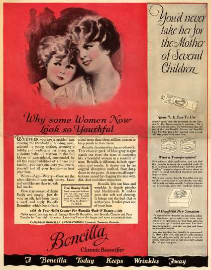 Boncilla Laboratorie's Boncilla Cosmetics – Why some Women Now Look so Youthful (1925)