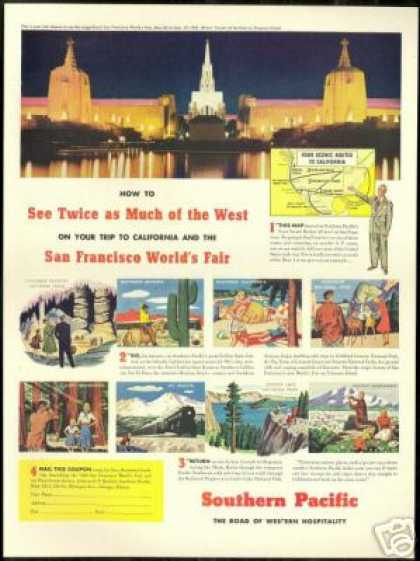 SP Southern Pacific Train SF Worlds Fair Art (1940)