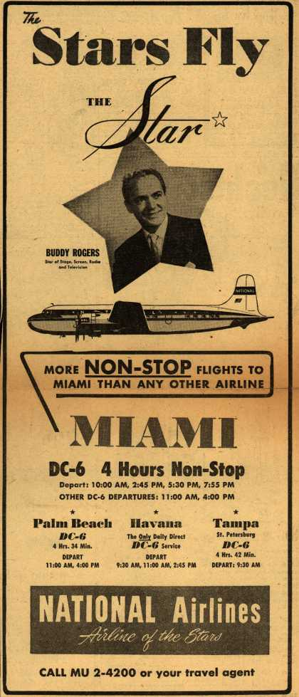 National Airline's Miami – The Stars Fly The Star (1951)