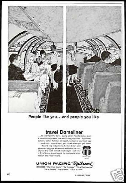 Union Pacific Railroad Domeliner Train Art (1964)
