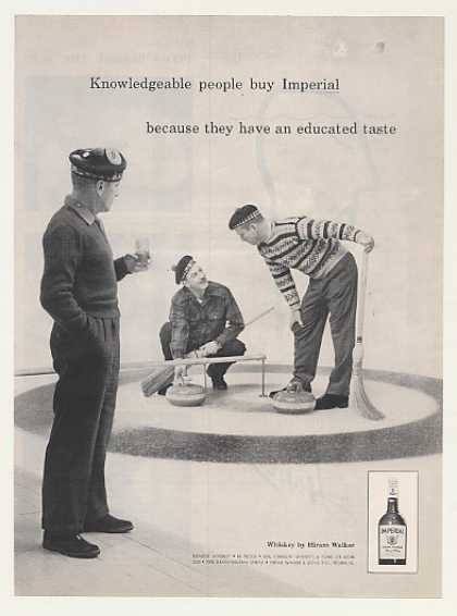 Men Curling Game Hiram Walker Imperial Whiskey (1959)
