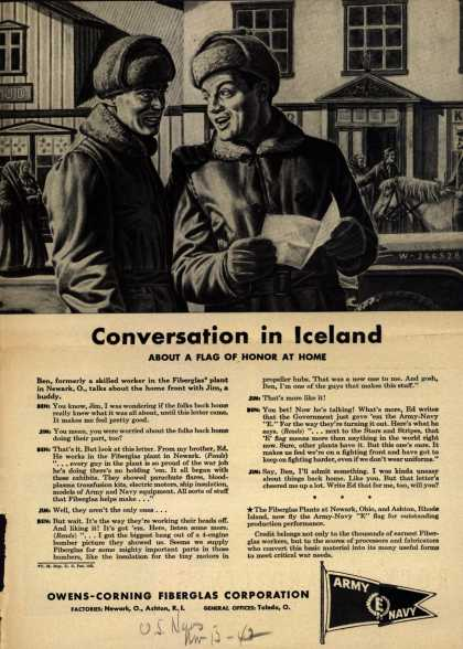 "Owens-Corning Fiberglass Corporation's Army Navy ""E"" – Conversation in Iceland (1943)"