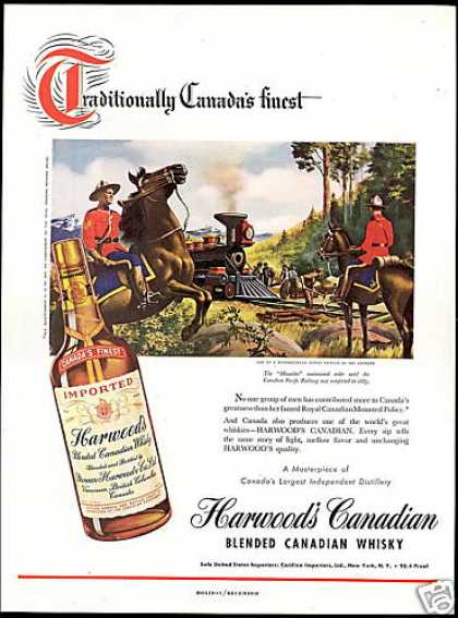 RCMP Royal Mountie Harwood's Canadian Whisky (1948)