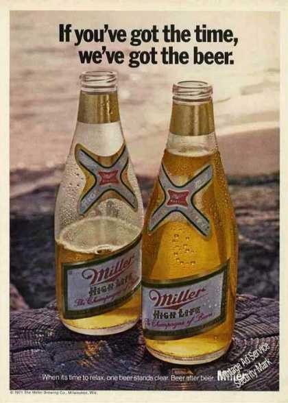 Miller High Life Beer Nice Bottles (1971)
