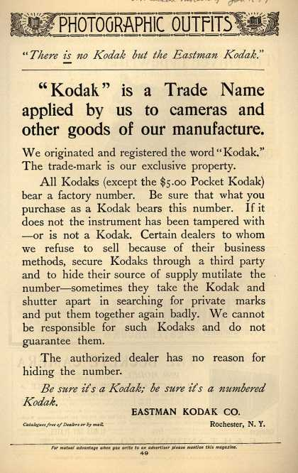 Kodak – There is no Kodak but the Eastman Kodak (1899)