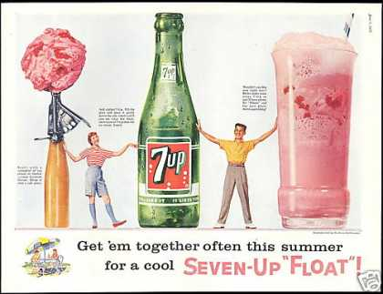 Cool 7-up 7up Float Get em Together Seven up (1957)