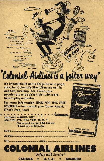 "Colonial Airline's Bermuda – ""Colonial Airlines is a faster way"" (1949)"