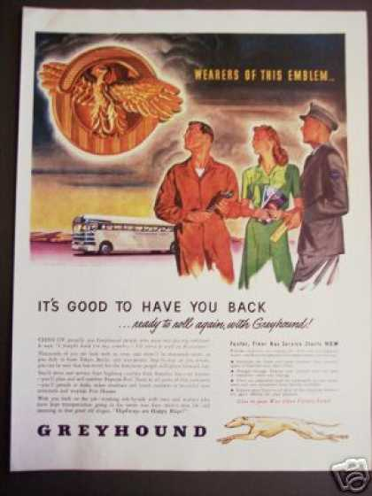 Original Post War Greyhound Bus Art (1945)