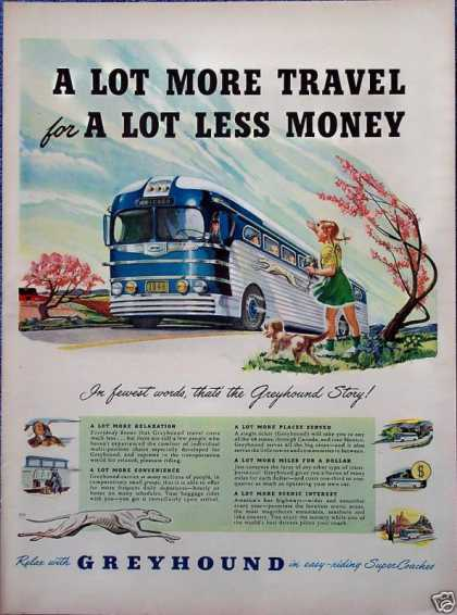 Greyhound Bus Little Girl Puppy Dog Roadside (1949)