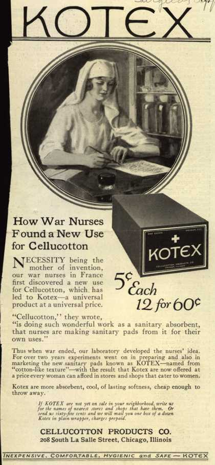 Cellucotton Products Company's Sanitary Napkins – How War Nurses Found a New Use for Cellucotton (1921)