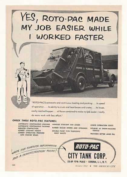 City Tank Roto-Pac Garbage Truck Photo (1952)