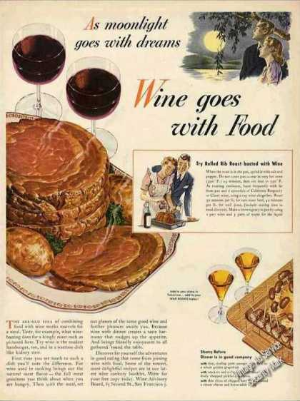 """Wine Goes With Food"" Collectible Wwii (1944)"
