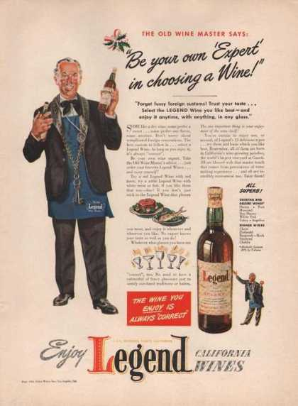 Enjoy Legend California Wines (1941)