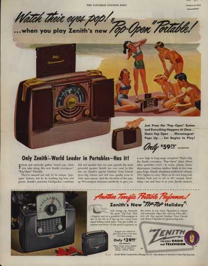 "Zenith Radio Corporation's Portable radios – Watch their eyes pop! ...when you play Zenith's new ""Pop-Open"" Portable (1949)"