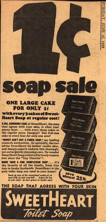 SweetHeart – 1c soap sale (1939)