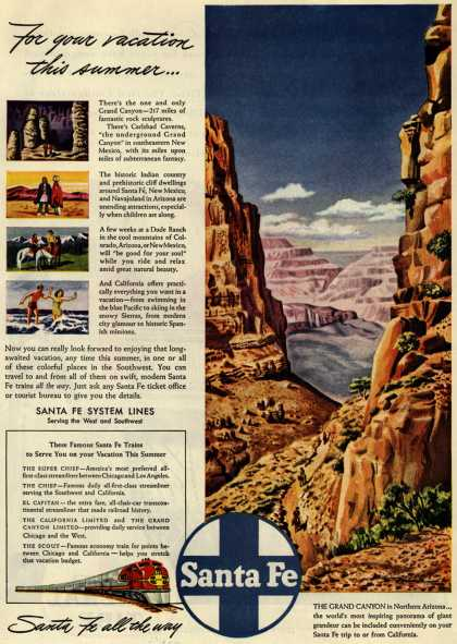 Santa Fe System Line's Grand Canyon – For your vacation this summer... (1946)