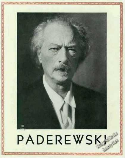 Large Paderewski Photo Pianist Frameable Trade (1934)