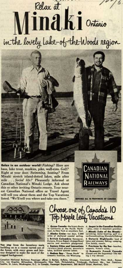 Canadian National Railway's Minaki Ontario – Relax at Minaki Ontario in the lovely Lake-of-the-Woods region (1953)