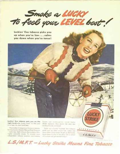 Lucky Strike Cigarettes – Skiing on the Slopes Scene – Sold (1949)