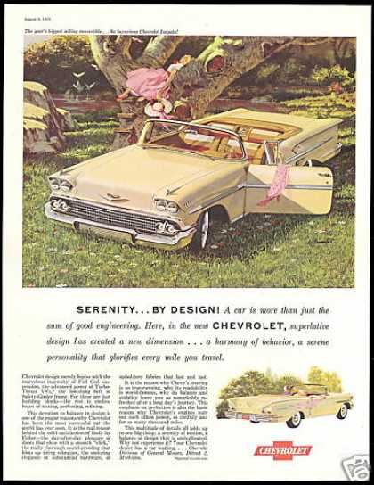 Chevrolet Impala Convertible Car Vintage Art (1958)