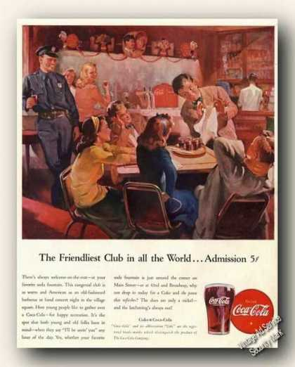 Coke Coca-cola Friendliest Club In the World (1946)