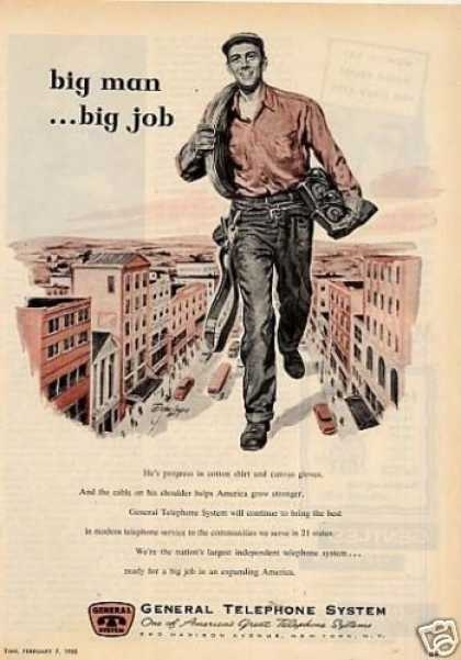 "General Telephone System Ad ""Big Man... (1955)"