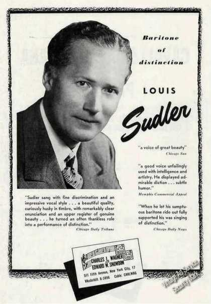 "Louis Sudler Photo ""Baritone of Distinction"" (1949)"