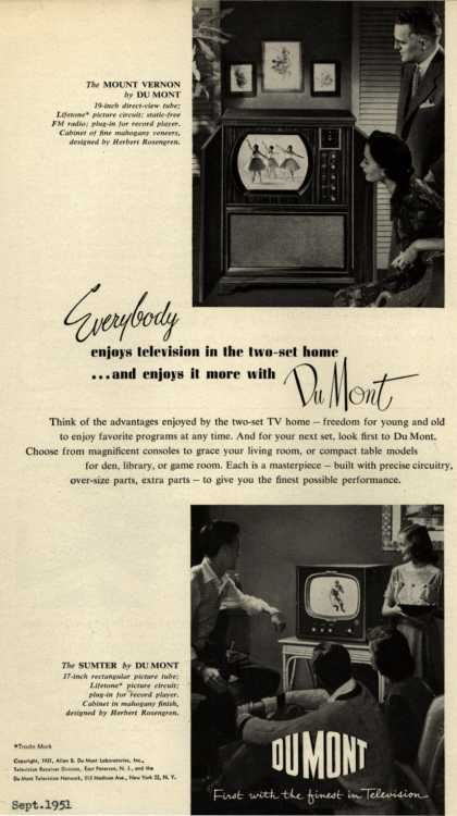 Allen B. DuMont Laboratorie's Various – Everybody enjoys television in the two-set home... and enjoys it more with DuMont (1951)