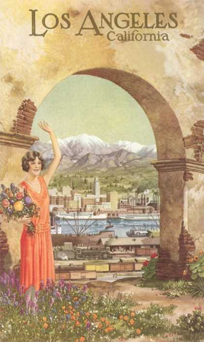 Flapper Waving by Arched Doorway, Los Angeles, California