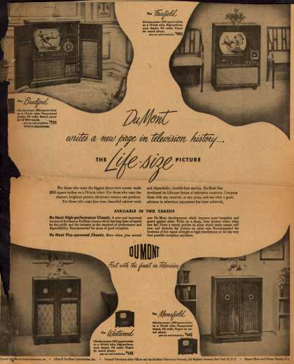 Allen B. DuMont Laboratorie's 19 inch televisions – DuMont writes a new page in television history... (1949)