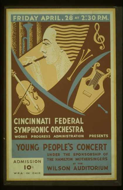 Cincinnati Federal Symphonic Orchestra, Works Progress Administration presents young people's concert under the sponsorship of the Hamilton Mothersin (1939)